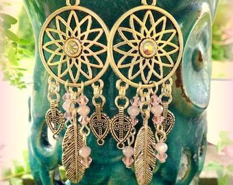 Boho Earrings; Dream Catcher Earrings; Pink Hippie Earrings; Chandelier Earrings; Bohemian Earrings; Feather Earrings; Australian Seller