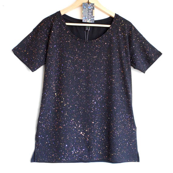 FIREFLIES t-shirt. Ladies loose fit tshirt. Women's organic cotton and tencel open neck t-shirt. Black speckled t-shirt.