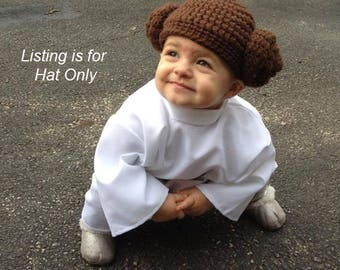 Princess Leia costume baby crochet beanie, Toddler star wars hat, Leia wig for toddler, Girls Star Wars costume hat
