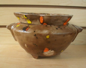 Large self watering African Violet Pot  gifts for her Two piece self watering flower pot African violet pot brown pot brown kitchen decor