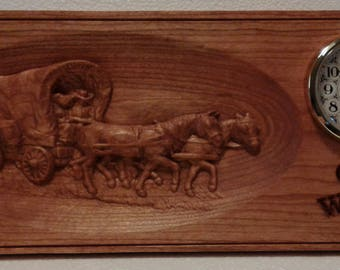 WESTERN COVERED WAGON Wall Clock Plaque