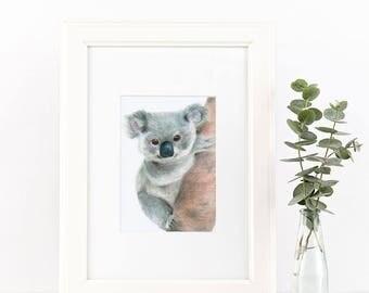 Koala Art Drawing - Koala Nursery Art, Koala Print, Koala Illustration