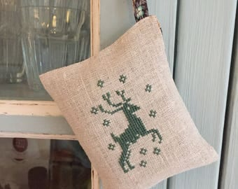 Handmade Cross Stitch Lavender Sachet Woodland Decor Deer Embroidery  Liberty of London Fabric