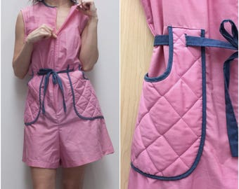 SALE! 60s Pink Sears Zip-Front Romper // Zip Up Pink Shorts Coverall w Quilted Pockets  sz. L / XL