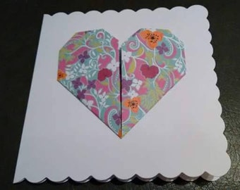 Handmade Origami Folded Paper Heart Greetings Card