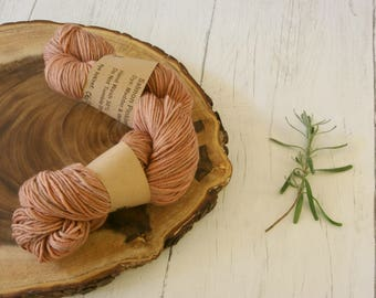 Wool 100g skein, DK, double knit, Blue Faced Leicester, hand dyed using madder and walnut husks, plant dyes, natural dyes, yarn, orange tan