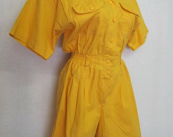 Cotton Romper Onesie Jumpsuit Yellow Shorts