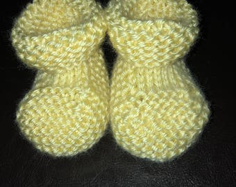 Hand Made Knitted Pale Yellow Baby Booties - 0 - 3 Months