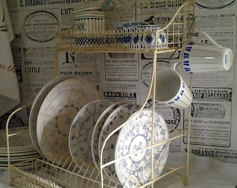 French Kitchen Storage Rack Creamy White...Plate Rack...Kitchen Shelf...Kitchen Storage...French Iron wire Rack...Counter top...Shabby Chic.