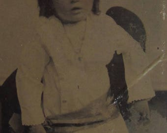 Original 1870's Cute Little Child Tintype Photograph - Free Shipping