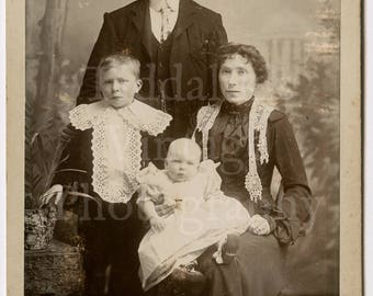 Cabinet Card Photo Victorian Family Man Woman Boy & Baby Portrait by Fred Avery of London England - Antique Photograph