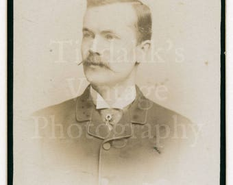 CDV Vintage Photo Victorian Young Handsome Dapper Man with Waxed Mustache - Birmingham, England -   Carte de Visite Antique Photograph