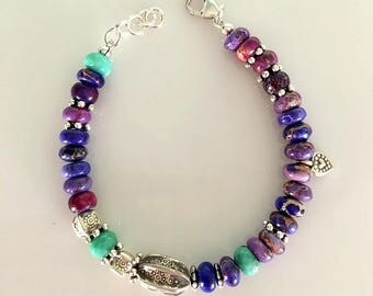 Purple Agate and Chrysoprase Beaded Bracelet - Chunky Purple Agate and Turquoise Color Chrysoprase  Bracelet With Karen Hill Tribe Silver