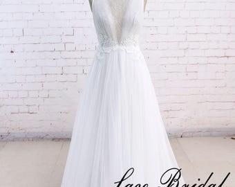 Simple wedding dress in ivory Lace wedding dress  Tulle bridal gown A line wedding dress Custom wedding dress