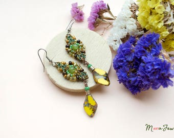 Quartz and Picasso glass earrings, beaded macrame, beadwork, gemstone, boho chic, bohemian, tribal, rustic, yellow green brown, long, dangle
