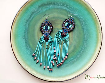 Fringe extra long earrings, bohemian, boho chic, micro macrame jewelry, unique beadwork, dangle beaded tassels, ethnic, turquoise black