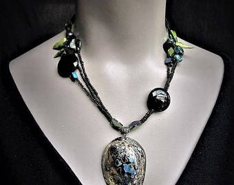 Abalone Shell Necklace Pendant Beach Wedding Tropical Jewelry Asymmetrical Big Bold Tops Tees Club Wear Resort Wear Cruise Wear Black Dress