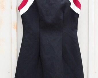 Vintage Cheerleader Dress - Black Bodycon Dress - Sleeveless Mini Dress - Little Black Dress - 80s Hipster Dress - Retro Preppy Dress - Mod