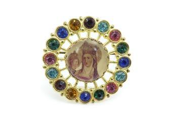 Vintage Religious Brooch, Rhinestones