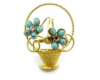 Vintage Flower Pot Brooch, Repair, Wear, Repurpose