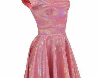On Point Pink Shimmery Scoop Neck Cap Sleeve Fit and Flare Skater Skate Dress Holographic - 154740