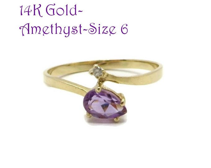 14K Gold Amethyst Ring - Amethyst, Diamond Ring, Vintage Engagement Ring, February Birthstone, Size 6, Valentine's Day Gift
