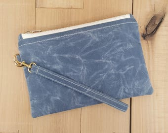 Waxed Canvas Wristlet, Wristlet, Wristlet Purse, Canvas Pouch, Christmas Gifts, Gift for Women, Gift for Her, Clutch, Hippie, Personalized