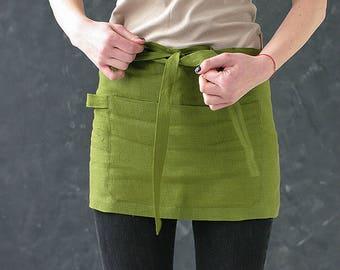 Green Moss Linen Cafe Apron / Washed Handmade Waitress Apron / Short Waist Linen Apron / Mini Apron