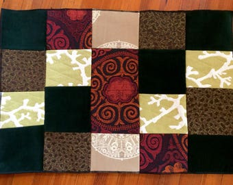 Japanese Inspired Patchwork Doormat, Dorm Rug, Nature Inspired Accent Rug,  One Of A