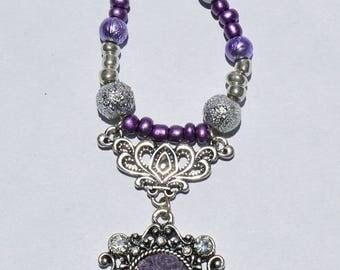 Purple Rose Cameo Bead Necklace
