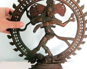 19th Century Northern Indian Bronze Dancing Shiva Deity Nataraja LARGE 34cms