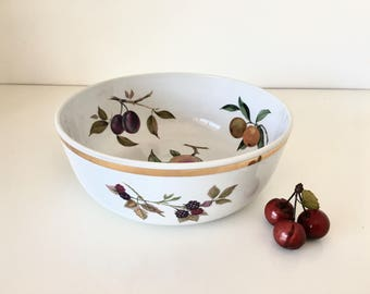 Royal Worcester Large Porcelain Salad Bowl Evesham Gold