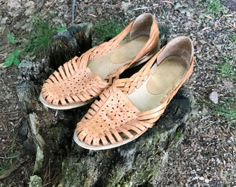 Leather Huarache Sandals