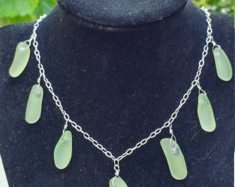 CELERY GREEN seaglass necklace on sterling silver