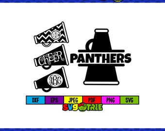 Panthers SVG Cheerleader SVG Cheer SVG Panther svg Megaphone svg Cheer Mom svg Cheer Mom Shirt Cricut Files dxf files vector art svg bundle