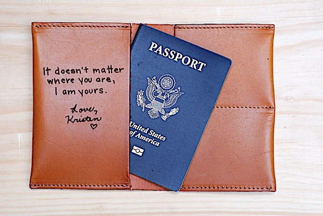 3rd Wedding Anniversary Leather Gifts: Third Wedding Anniversary Gift Leather Passport Cover Note