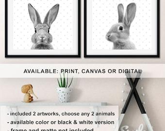Peek a boo Bunny Nursery animal wall art, Rabbit Prints for Nursery, Bunny Kids wall decor, Bunny Baby room prints,  Rabbit decor Print/Canv