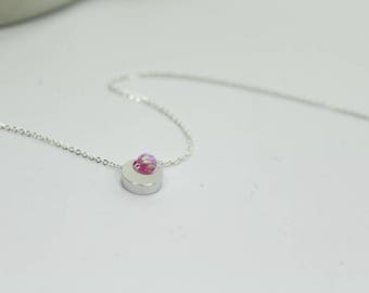 Pink Opal  Necklace,I love you to the moon and back.Moon Sun Jewelry,Opal Necklace,rose pink opal Jewelry,Gift for sister. daughter birthday