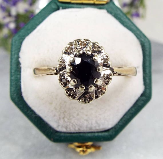 Vintage 1981 9ct Yellow Gold Sapphire and Diamond Cluster Ring / Size P 1/2