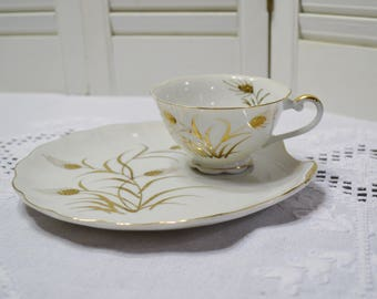 Vintage Lefton Gold Wheat Snack Plate Set White Gold Wheat Hand Painted Design Japan PanchosPorch