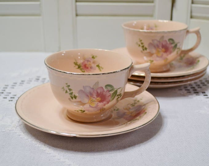 Vintage Taylor Smith Taylor Pink Cup Saucer Set of 2 Orchid Iris Floral Pattern TST193 Replacement PanchosPorch