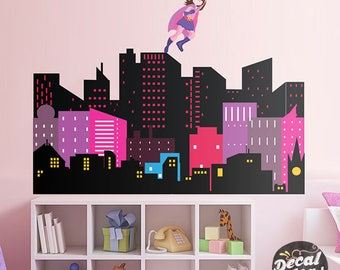 Superhero Girl Wall Decal   Gotham City Wall Decal   Batgirl Sticker   City  Skyline   Part 91