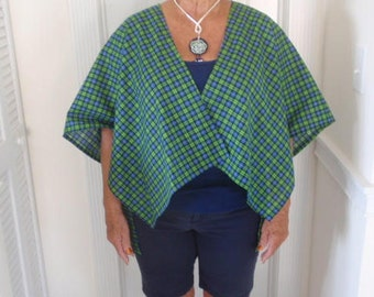 blue and green plaid cape
