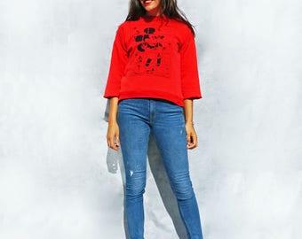 Mickey Mouse Jumper, Vintage 80s Jumper, Reversible Jumper, Red Oversized Sweater, Mickey Sweatshirt, Mickey Mouse Sweater, Vintage Mickey