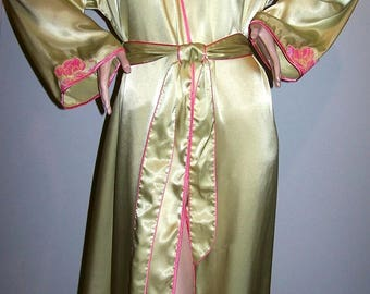 Vintage 1990's SENSARA SATIN ROBE Size L to X-L Chartreuse with Pink Floral Embroidered-Appliques Hollywood Glamour