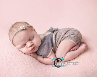 Newborn Photo Props, Newborn Romper, Lace Romper, Baby Girl Outfit, Baby Picture Prop, Newborn Props, Newborn Overall, Baby Jumpsuit