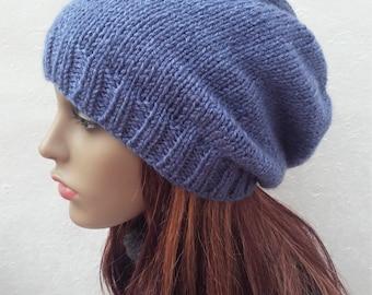 CHARLEY Denim Blue SLOUCH HAT  Handknit Slouchy Beanie in Denim Blue Wool/ Handknit Blue Woolen Winter Beanie/ Brown Slouch Hat