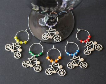 Bicycle Wine Glass Charms-Set of 6-BIKE2001-6