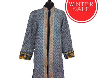 WINTER SALE - X Large size - Long Kantha Jacket - Soft Blue and Off White. Reverse Turquoise and Yellow.