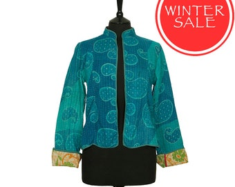 WINTER SALE - Medium size - Short Kantha Jacket - Turquoise and blue. Reverse coral and black